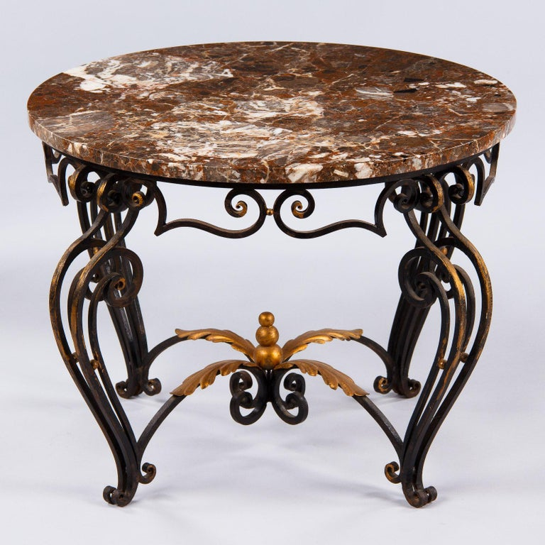 French Art Deco Iron and Marble Coffee Table by Robert Merceris, 1940s In Good Condition For Sale In Austin, TX