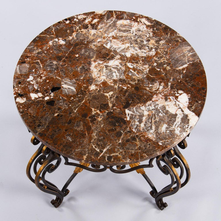 Mid-20th Century French Art Deco Iron and Marble Coffee Table by Robert Merceris, 1940s For Sale
