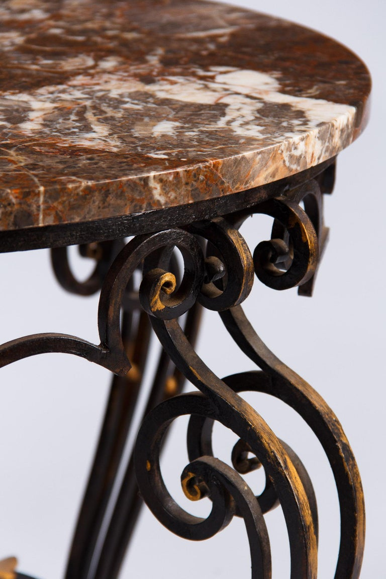 French Art Deco Iron and Marble Coffee Table by Robert Merceris, 1940s For Sale 1