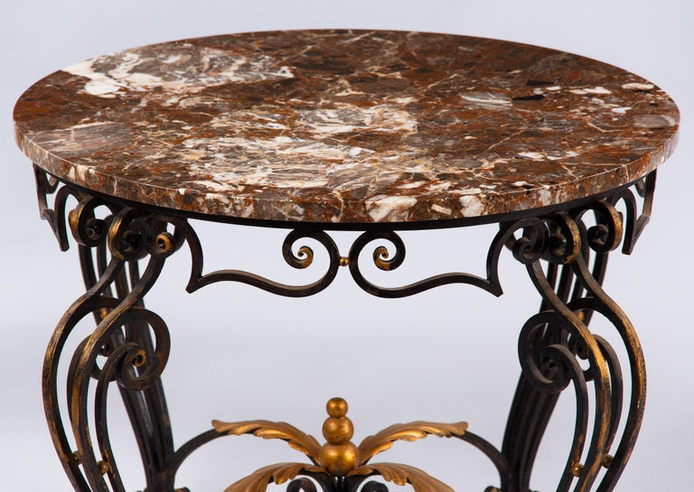 French Art Deco Iron and Marble Coffee Table by Robert Merceris, 1940s For Sale 2