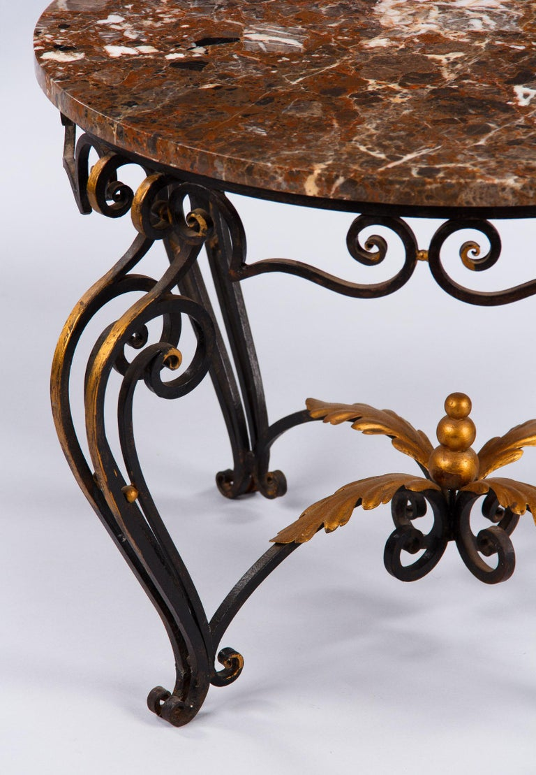 French Art Deco Iron and Marble Coffee Table by Robert Merceris, 1940s For Sale 3