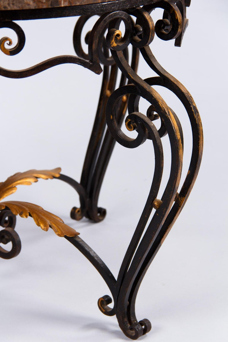 French Art Deco Iron and Marble Coffee Table by Robert Merceris, 1940s For Sale 5