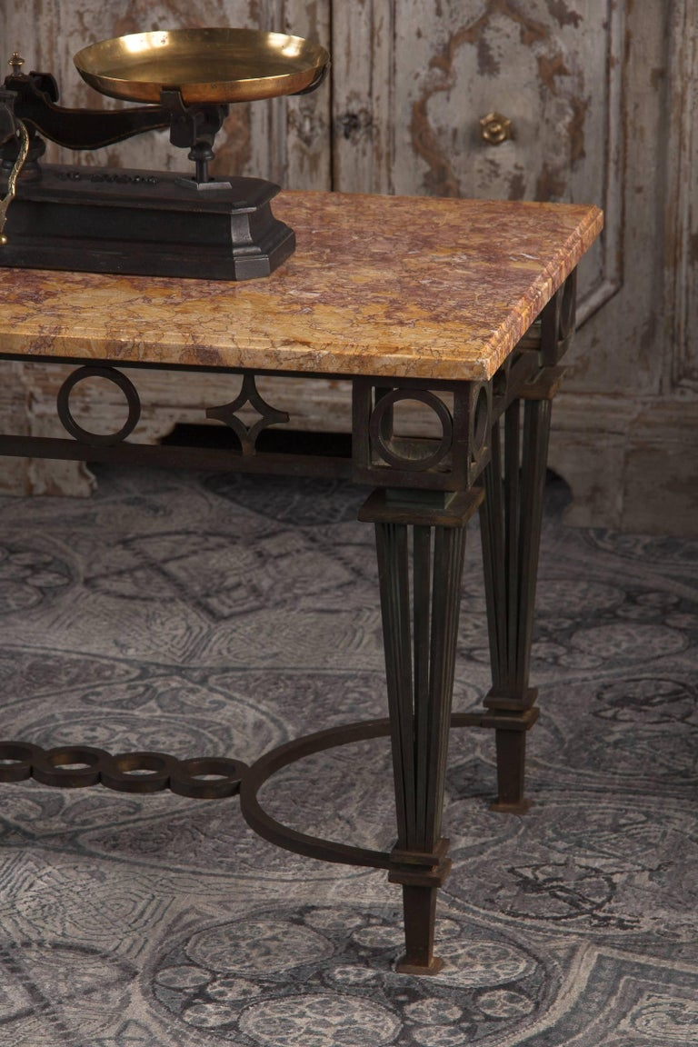 French Art Deco Iron and Marble Table by Gilbert Poillerat, 1930s For Sale 5