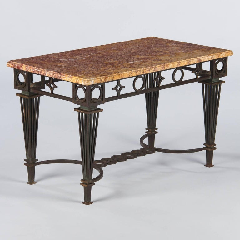 French Art Deco Iron and Marble Table by Gilbert Poillerat, 1930s For Sale 6