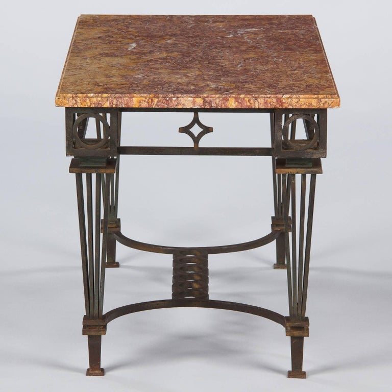 French Art Deco Iron and Marble Table by Gilbert Poillerat, 1930s For Sale 7