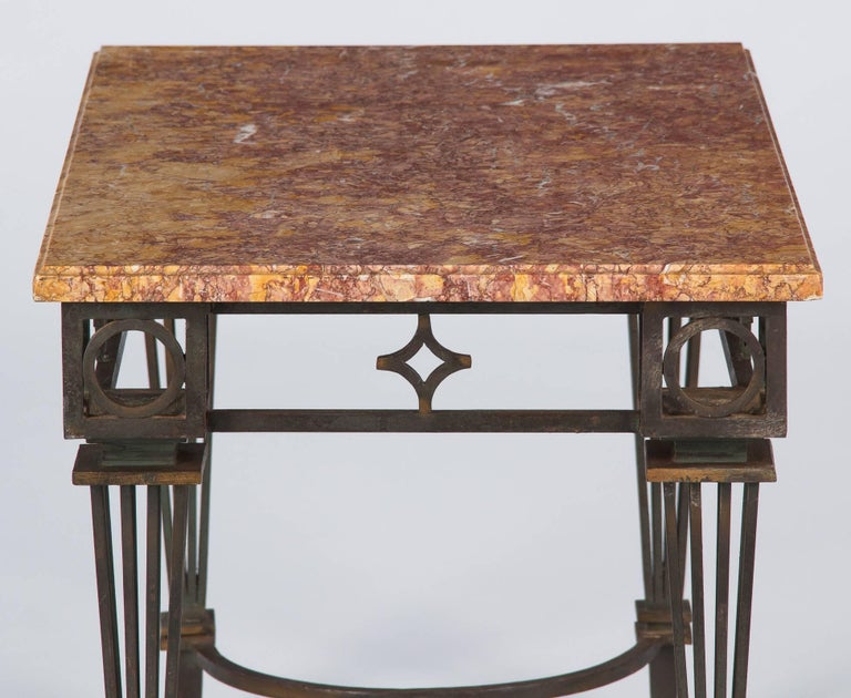 French Art Deco Iron and Marble Table by Gilbert Poillerat, 1930s For Sale 8