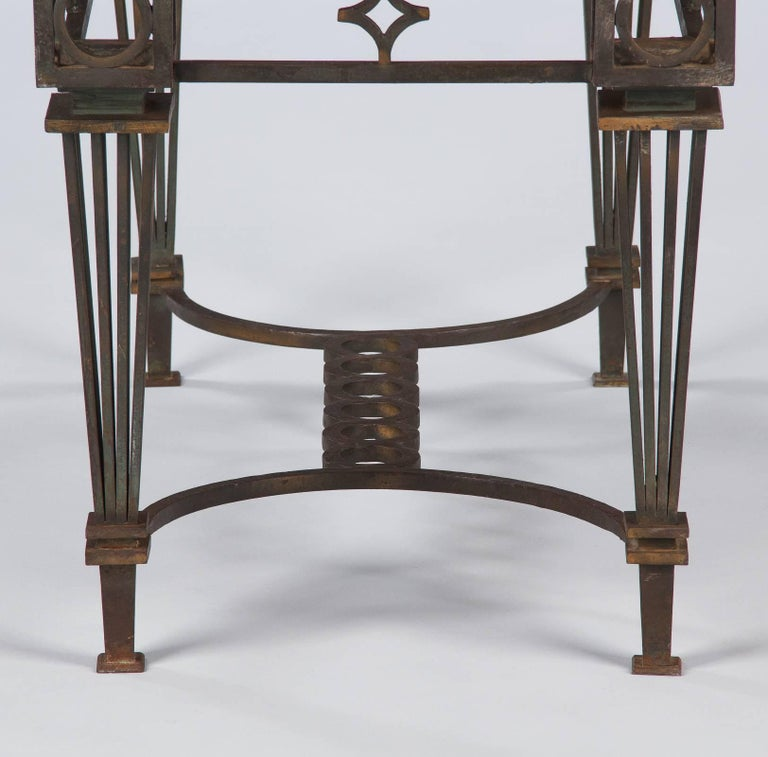 French Art Deco Iron and Marble Table by Gilbert Poillerat, 1930s For Sale 9