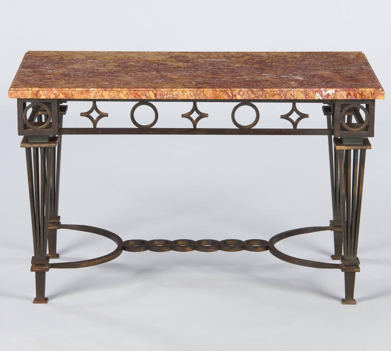 French Art Deco Iron and Marble Table by Gilbert Poillerat, 1930s For Sale 10