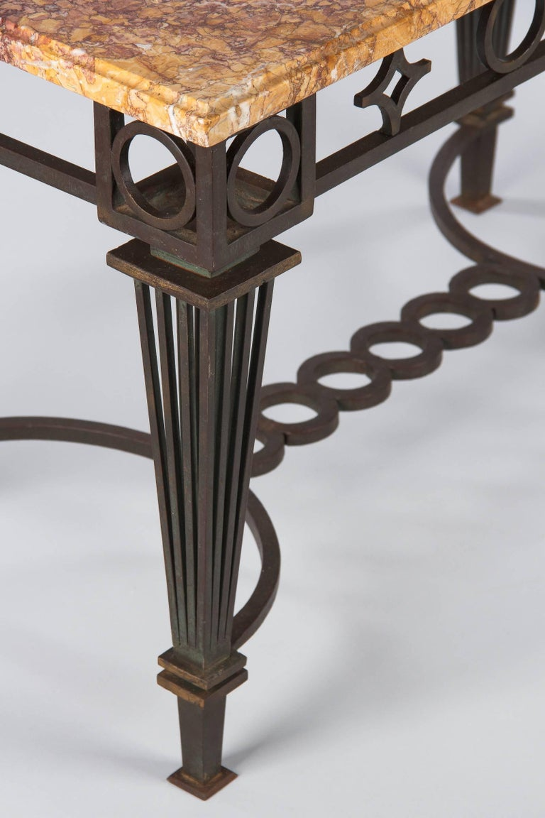 French Art Deco Iron and Marble Table by Gilbert Poillerat, 1930s For Sale 11