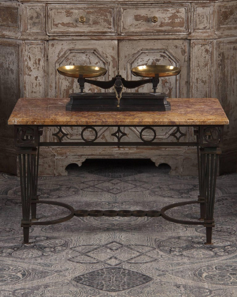 French Art Deco Iron and Marble Table by Gilbert Poillerat, 1930s For Sale 13
