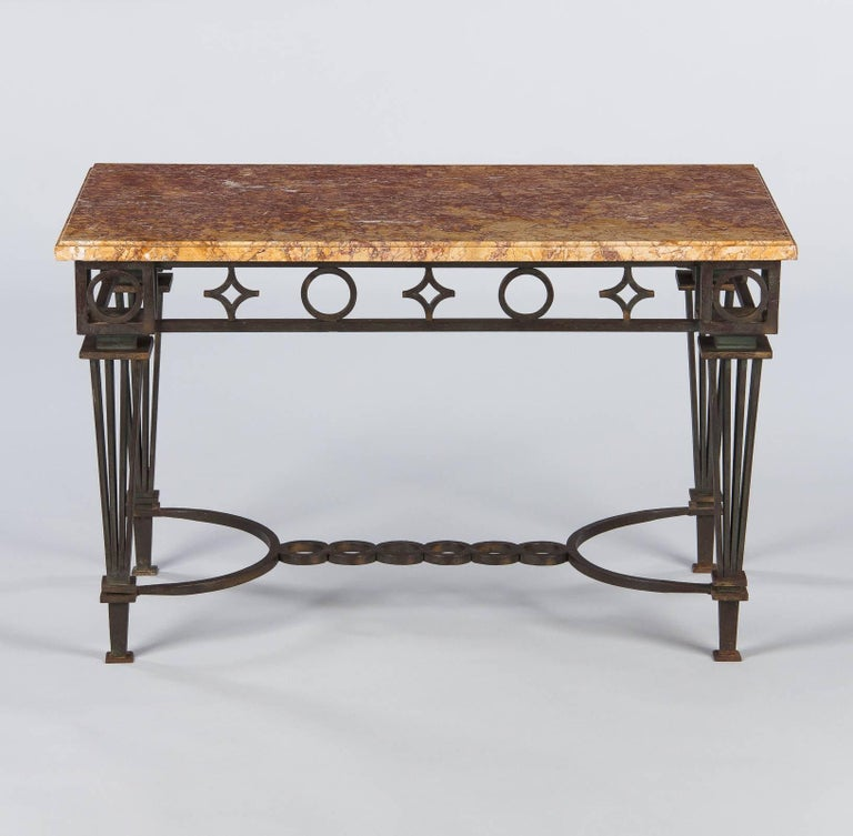 French Art Deco Iron and Marble Table by Gilbert Poillerat, 1930s In Good Condition For Sale In Austin, TX