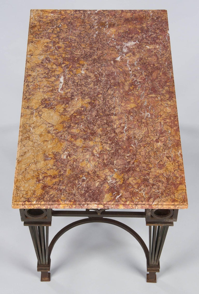 Mid-20th Century French Art Deco Iron and Marble Table by Gilbert Poillerat, 1930s For Sale