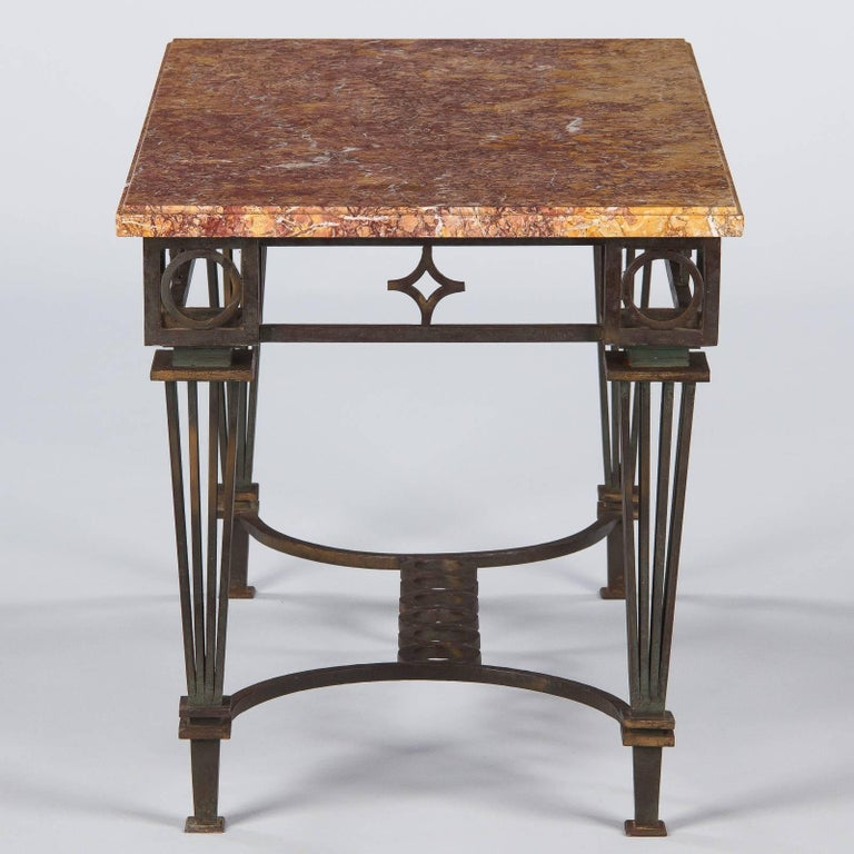 Wrought Iron French Art Deco Iron and Marble Table by Gilbert Poillerat, 1930s For Sale