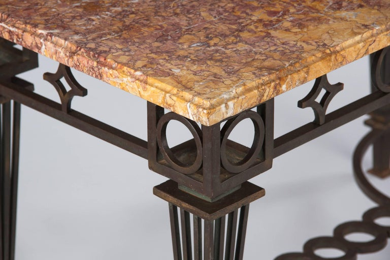 French Art Deco Iron and Marble Table by Gilbert Poillerat, 1930s For Sale 1