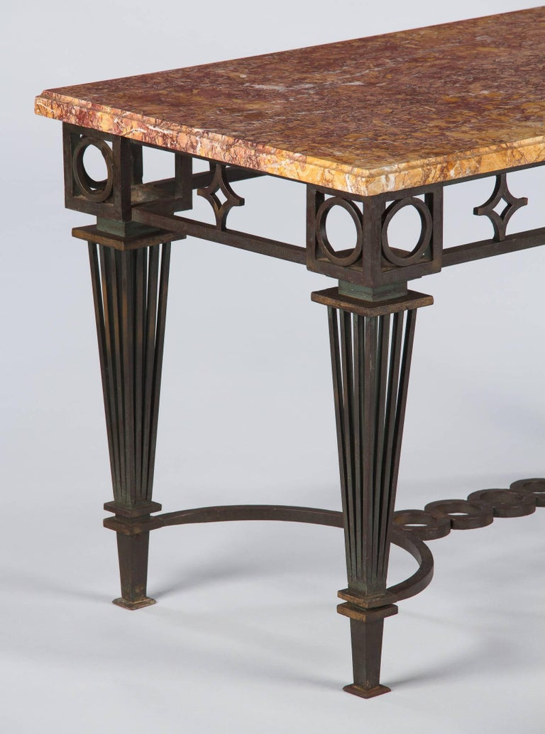 French Art Deco Iron and Marble Table by Gilbert Poillerat, 1930s For Sale 2