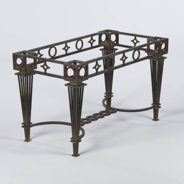French Art Deco Iron and Marble Table by Gilbert Poillerat, 1930s For Sale 4