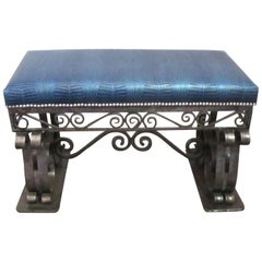 French Art Deco Iron Bench with Faux Alligator Blue Leather Upholstery