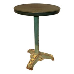 French Art Deco Iron Bistro Table with Bakelite Top