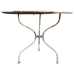 French Art Deco Iron Café or Bistro Circular Dining Table with Perforated Top