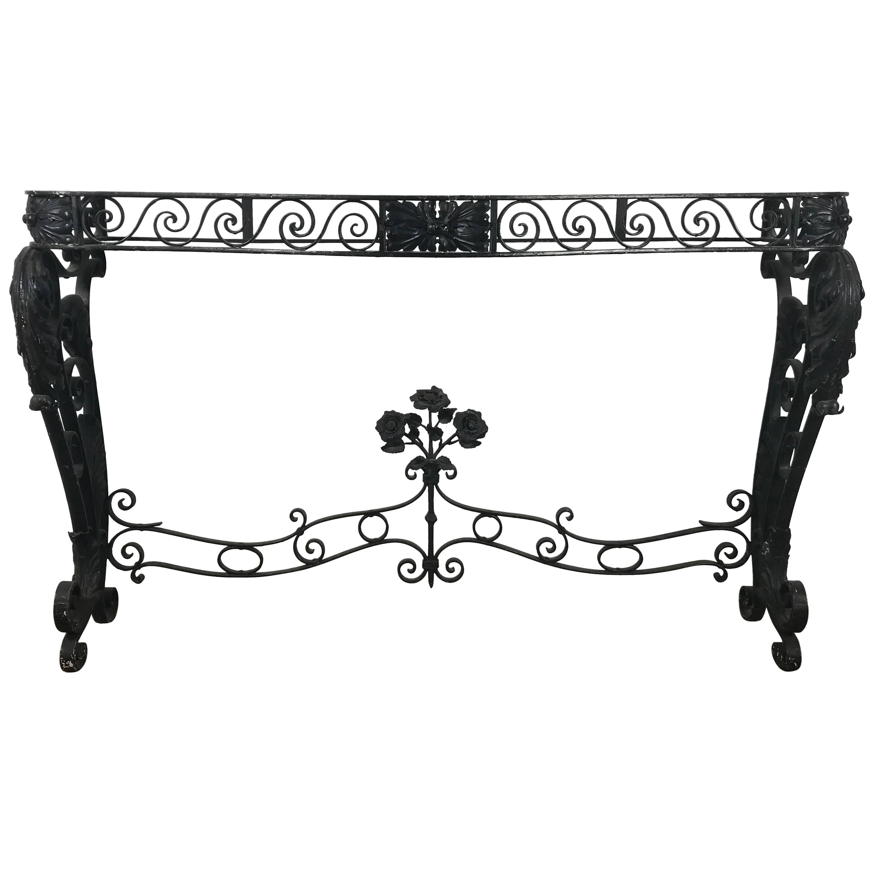 French Art Deco Iron Console Table Base in the Manner of Raymond Subes