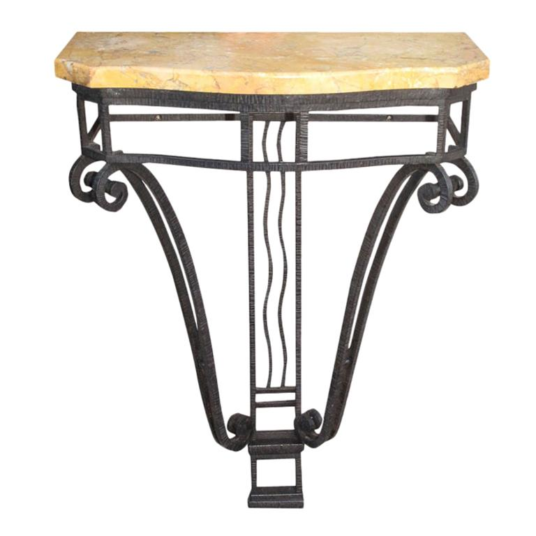 French Art Deco Iron Console with Marble Top For Sale