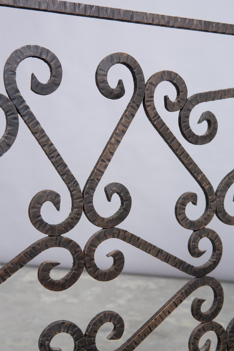 French Art Deco Iron Fireplace Screen For Sale 4