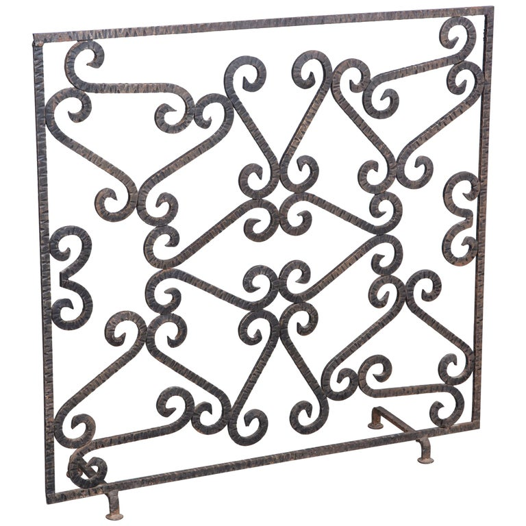 French Art Deco Iron Fireplace Screen For Sale