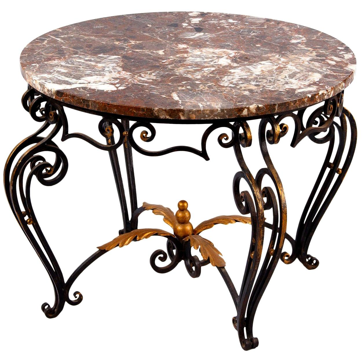 French Art Deco Iron/Marble Coffee Table Attributed to Robert Merceris, 1940s