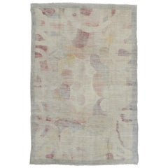French Art Deco Ivory Wool Rug with Pastel Colors, circa 1930
