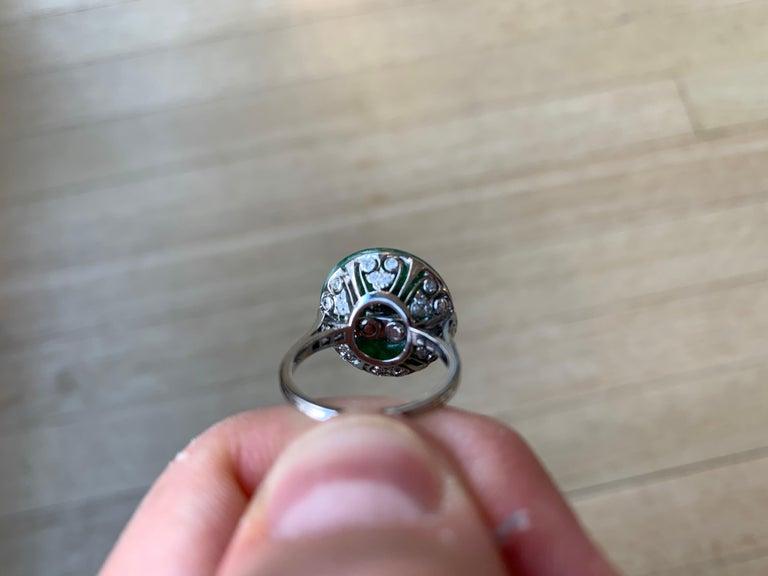 Women's French Art Deco Jade Diamond Ring