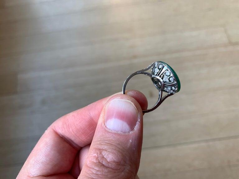 French Art Deco Jade Diamond Ring 2