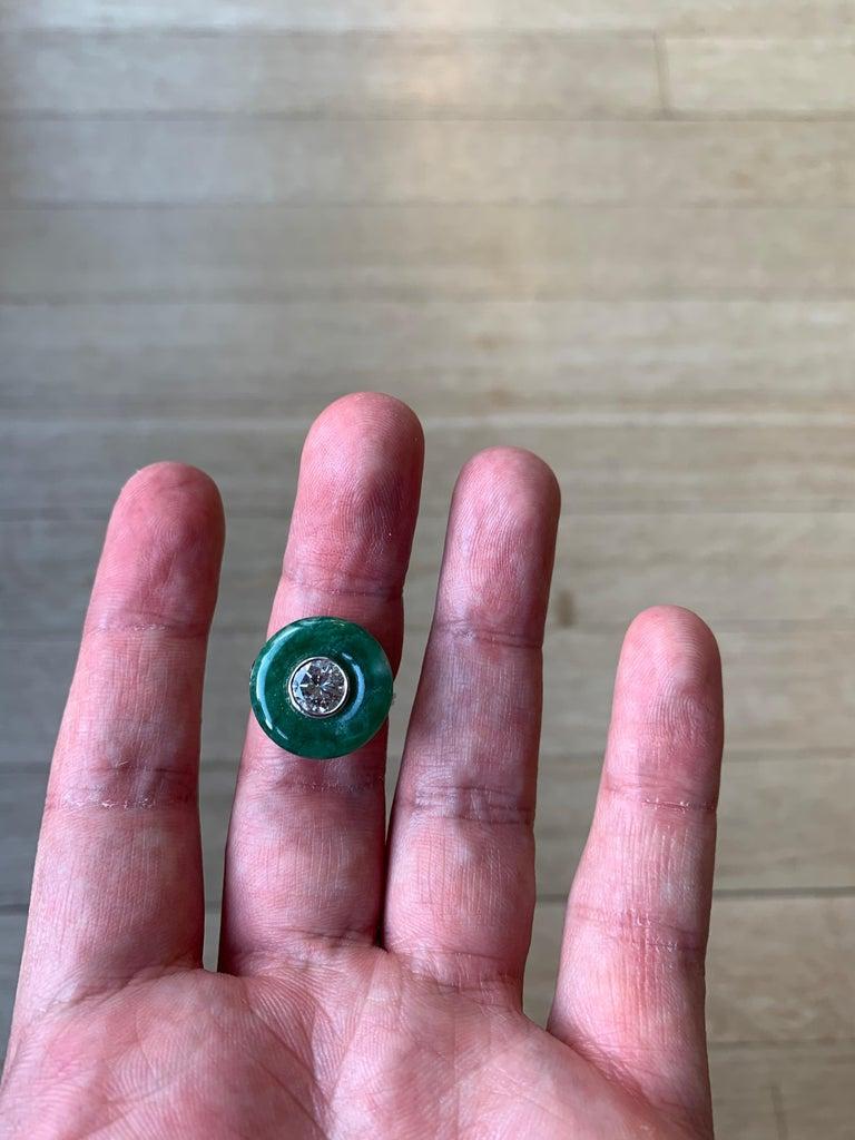 French Art Deco Jade Diamond Ring 3
