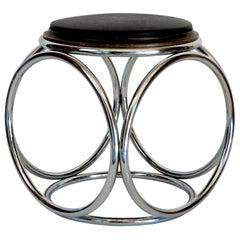 French Art Deco Jean-Pierre Laporte Design Tubular Circle Stool or Table