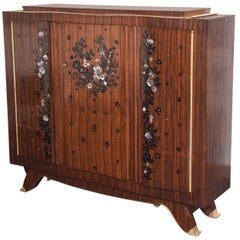 French Art Deco Jules Leleu Macassar and Mother-of-Pearl Cabinet