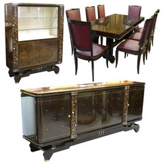 French Art Deco Jules Leleu Style Dining Room Suite