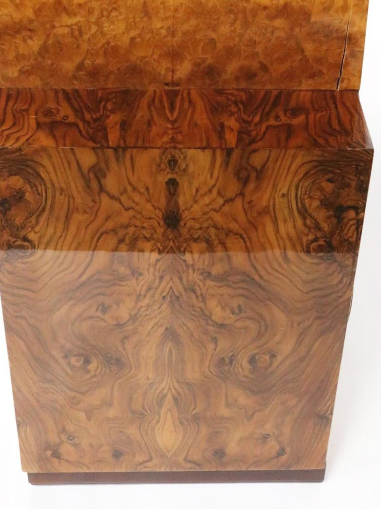 French Art Deco Lacquered Burl Sideboard Cabinet For Sale 11