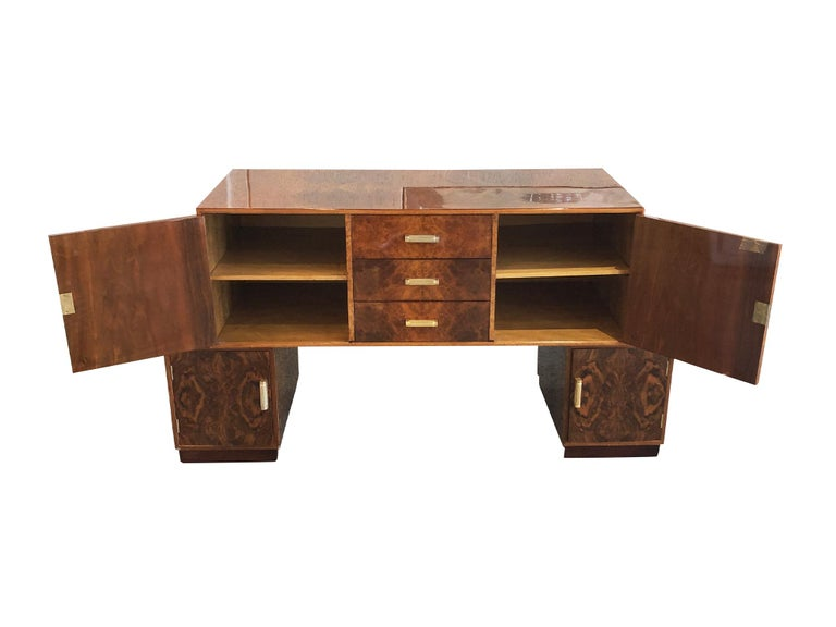 Mid-20th Century French Art Deco Lacquered Burl Sideboard Cabinet For Sale