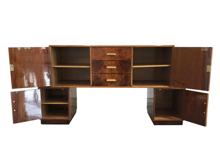 Wood French Art Deco Lacquered Burl Sideboard Cabinet For Sale