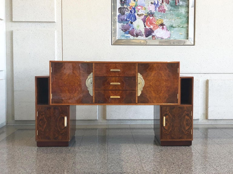 French Art Deco Lacquered Burl Sideboard Cabinet For Sale 1
