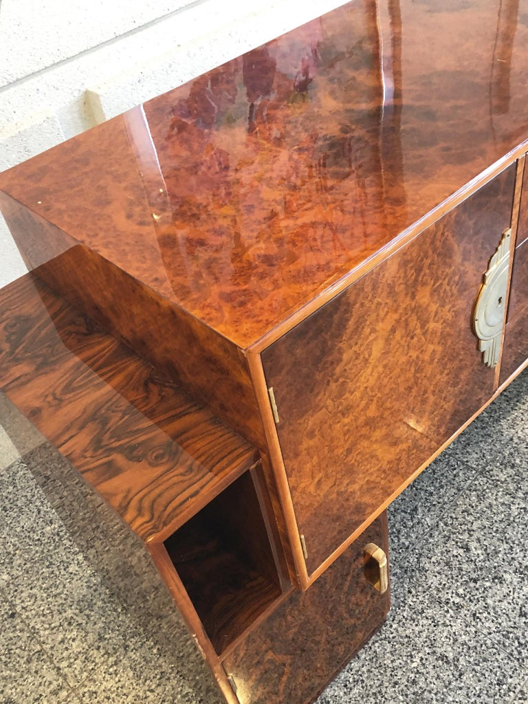 French Art Deco Lacquered Burl Sideboard Cabinet For Sale 4