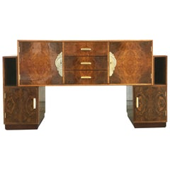 French Art Deco Lacquered Burl Sideboard Cabinet