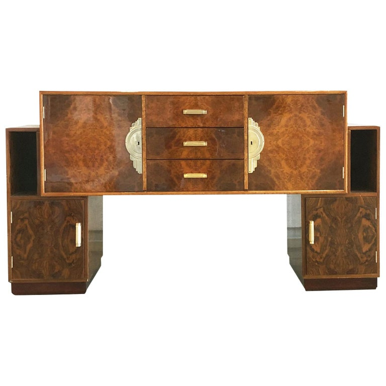 French Art Deco Lacquered Burl Sideboard Cabinet For Sale
