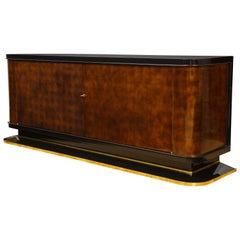 French Art Deco Lacquered Cabinet, by Jules Leleu and Probably Jean Dunand