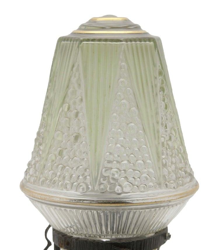 Hand-Crafted French Art Deco Lamp in Wrought Iron with Floral Pattern and Colored Glass Shade For Sale