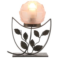 French Art Deco Lamp in Wrought Iron with Floral Pattern and Colored Glass Shade