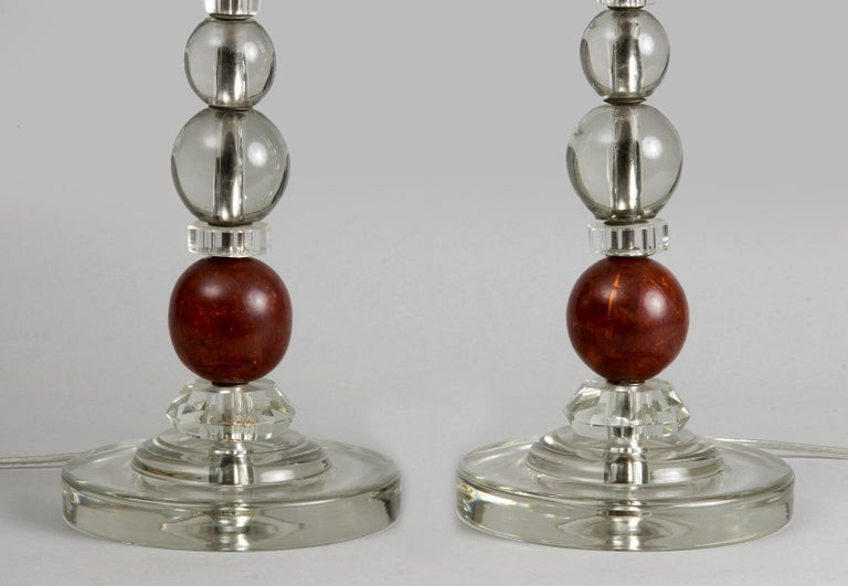 Molded French Art Deco Lamps, a Pair, circa 1920s For Sale