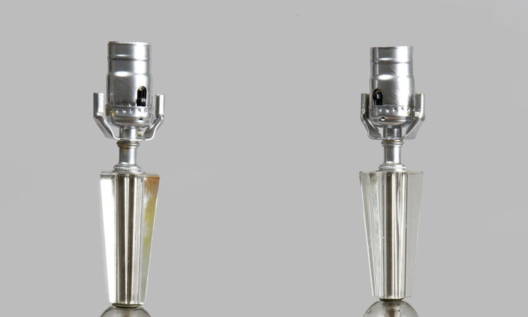 French Art Deco Lamps, a Pair, circa 1920s In Good Condition For Sale In Sheffield, MA