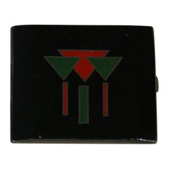 French Art Deco Laquered Cigarette Case in Silver, circa 1930