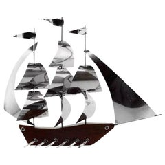 French Art Deco Large Galley Ship by Art Bois, 1930s