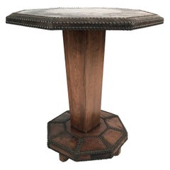 French Art Deco Leather and Brass Stud Decorated Table